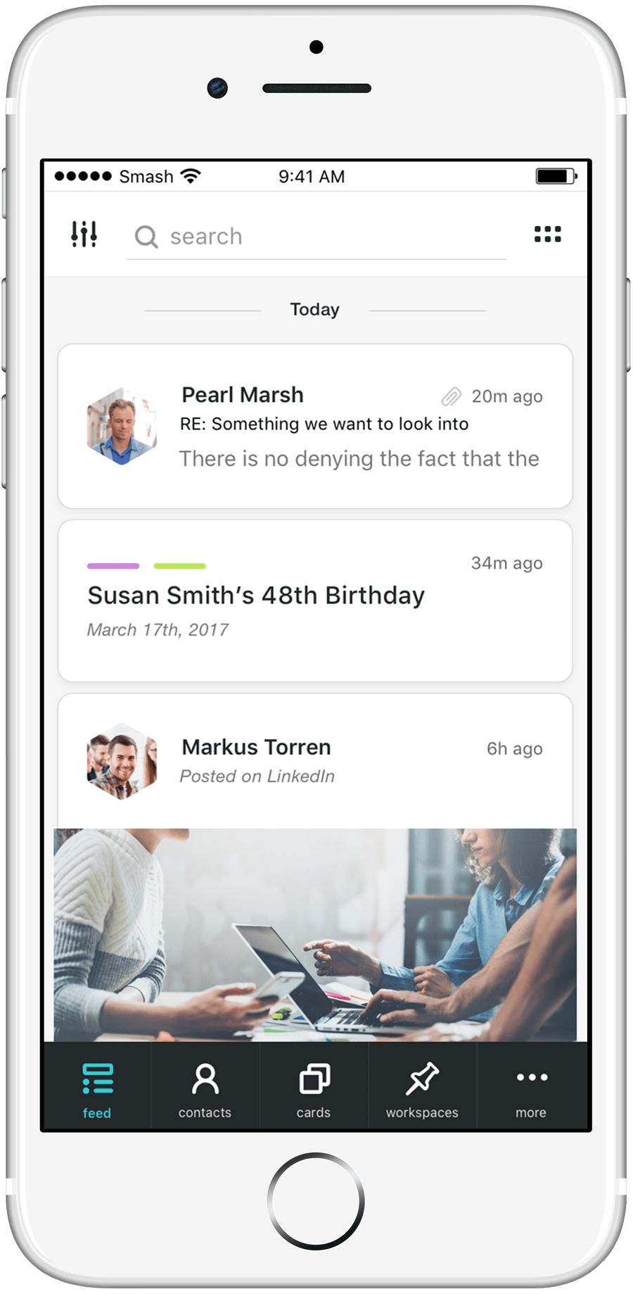 Smash feed 2.0 in iPhone mockup