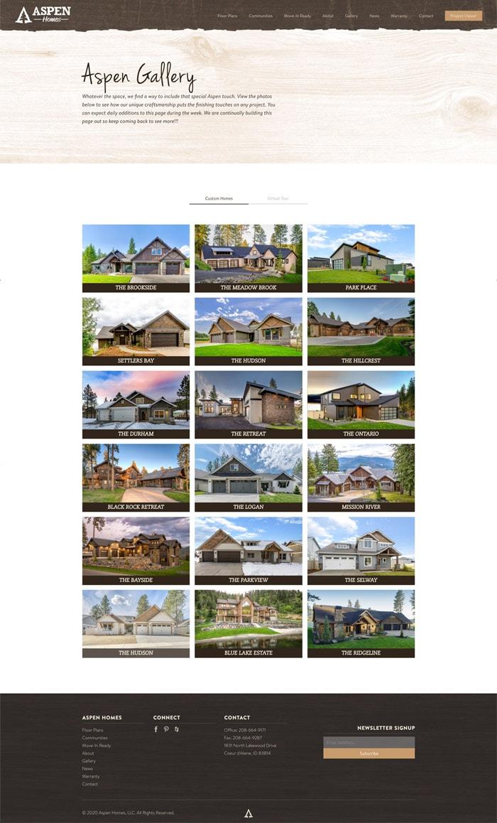 Aspen Homes Image Gallery website mockup