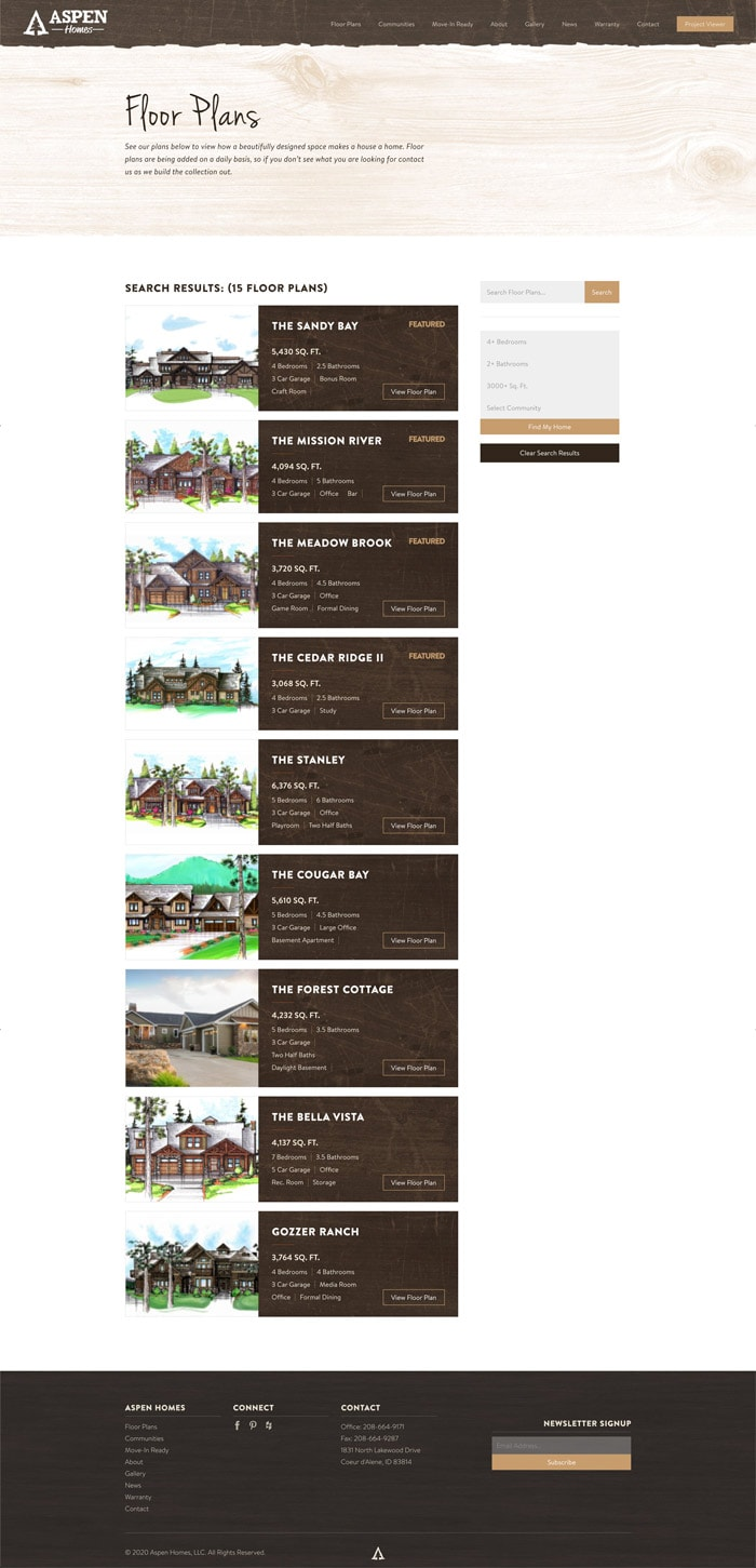 Aspen Homes Floorplans website mockup