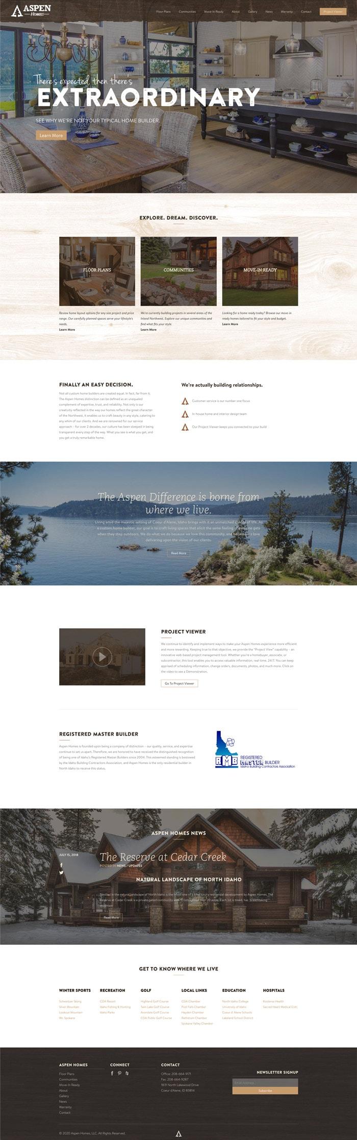Aspen Homes website mockup