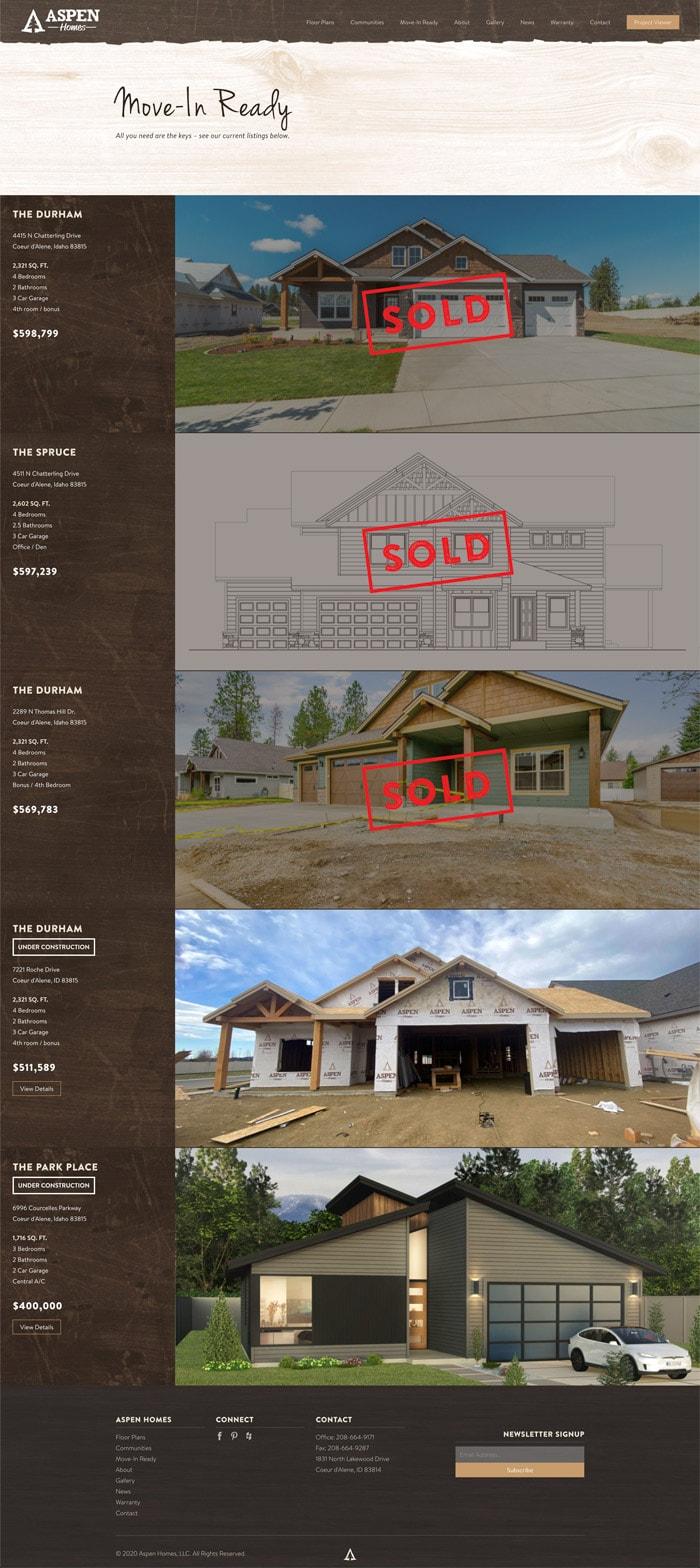 Aspen Homes Move In Ready website mockup