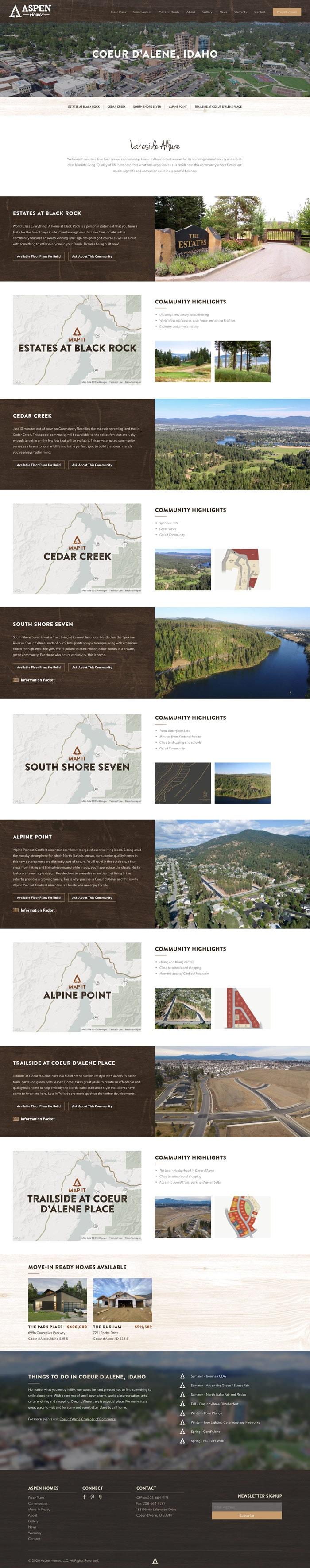 Aspen Homes City website mockup