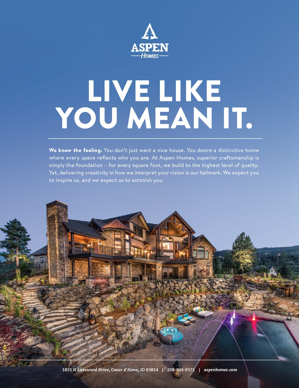 Live Like You Mean It magazine ad for Aspen Homes