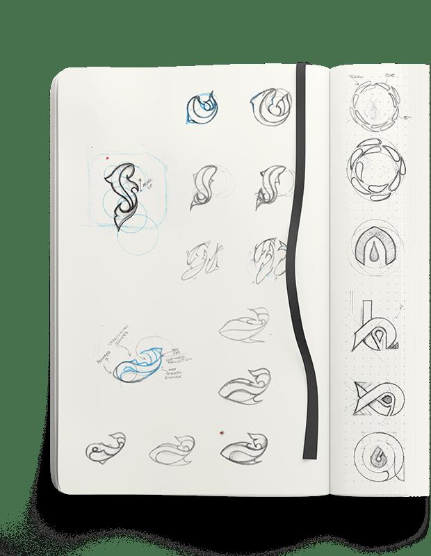 Aquabuildr logo concept sketches