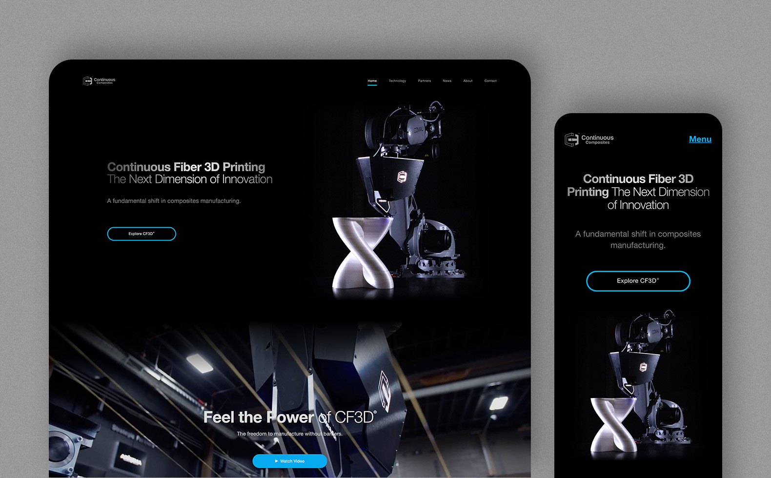 Continuous Composites home page desktop and mobile layout