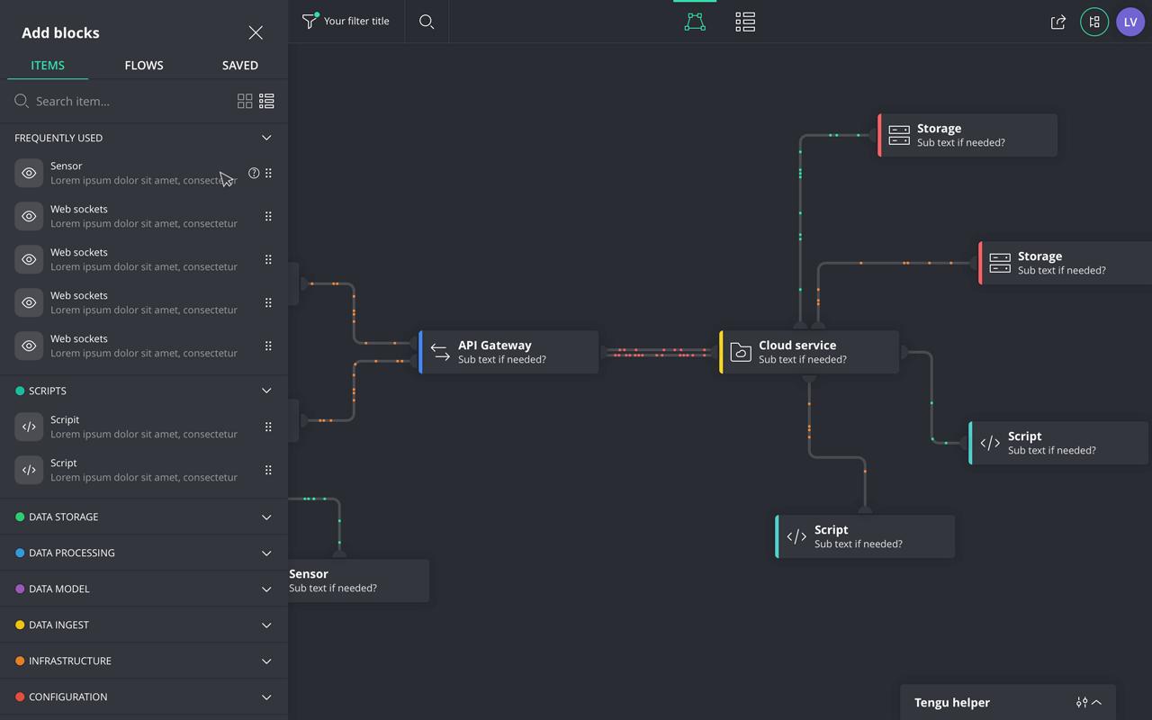 Tengu graph and create sidebar on the left