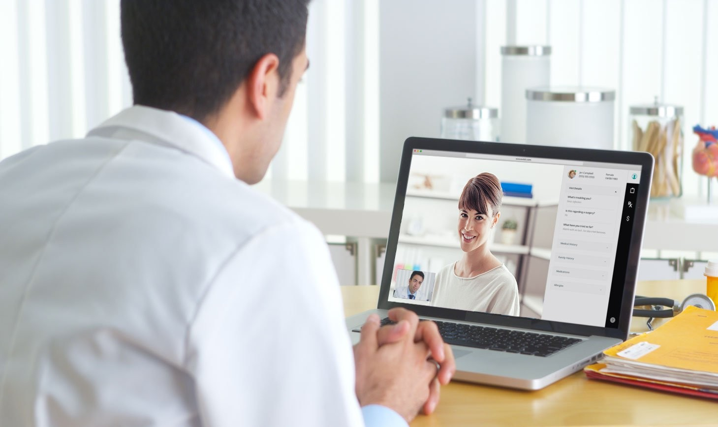 Doctor is having a video chat with a patient