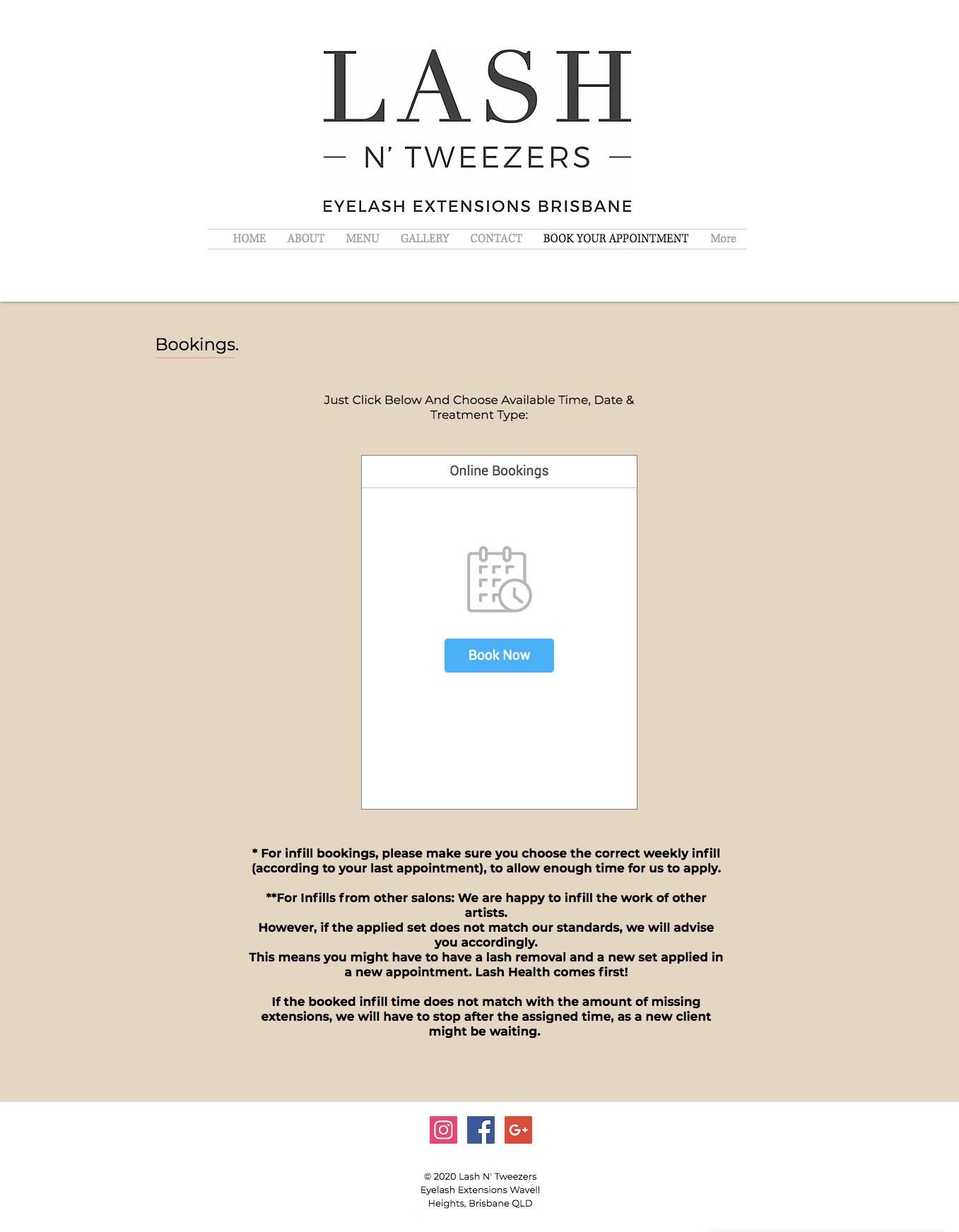 Old website design for Lash N Tweezers