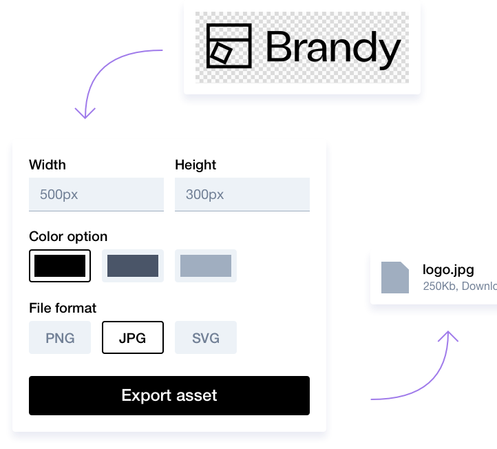 Smart exports for SVG files with Brandy - Your brand (new) asset manager