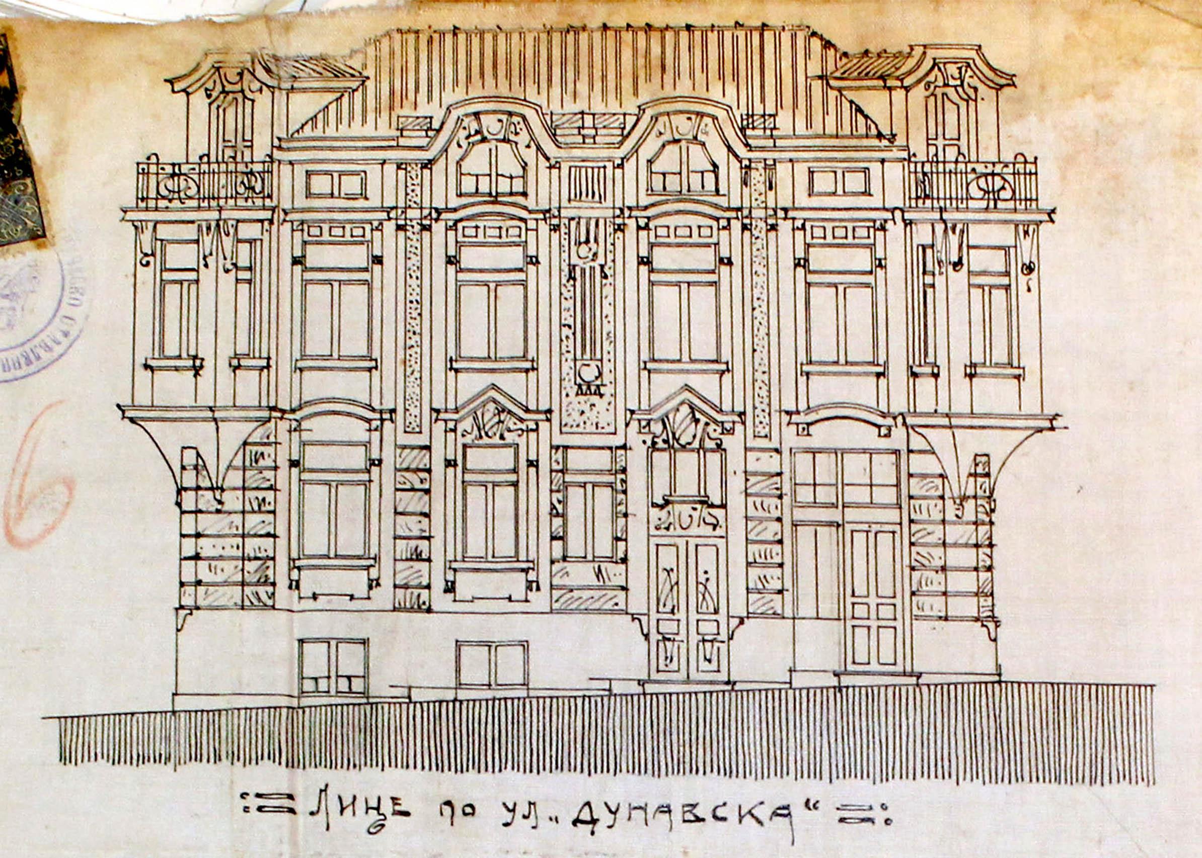Проект - 1914г. - фасада /изт.: Архив-Община Варна/
