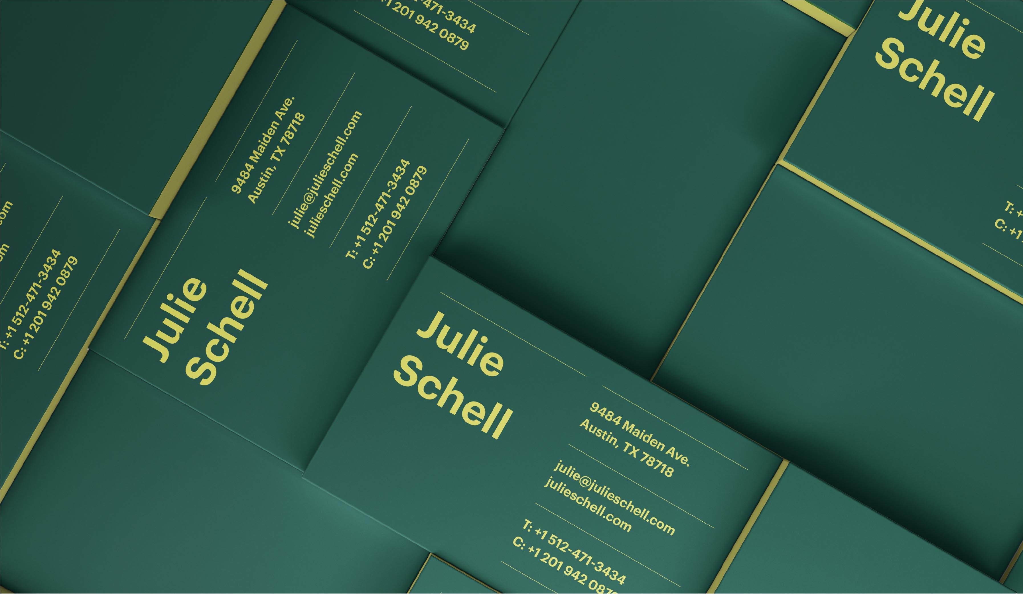 Julie Schell bisiness card design