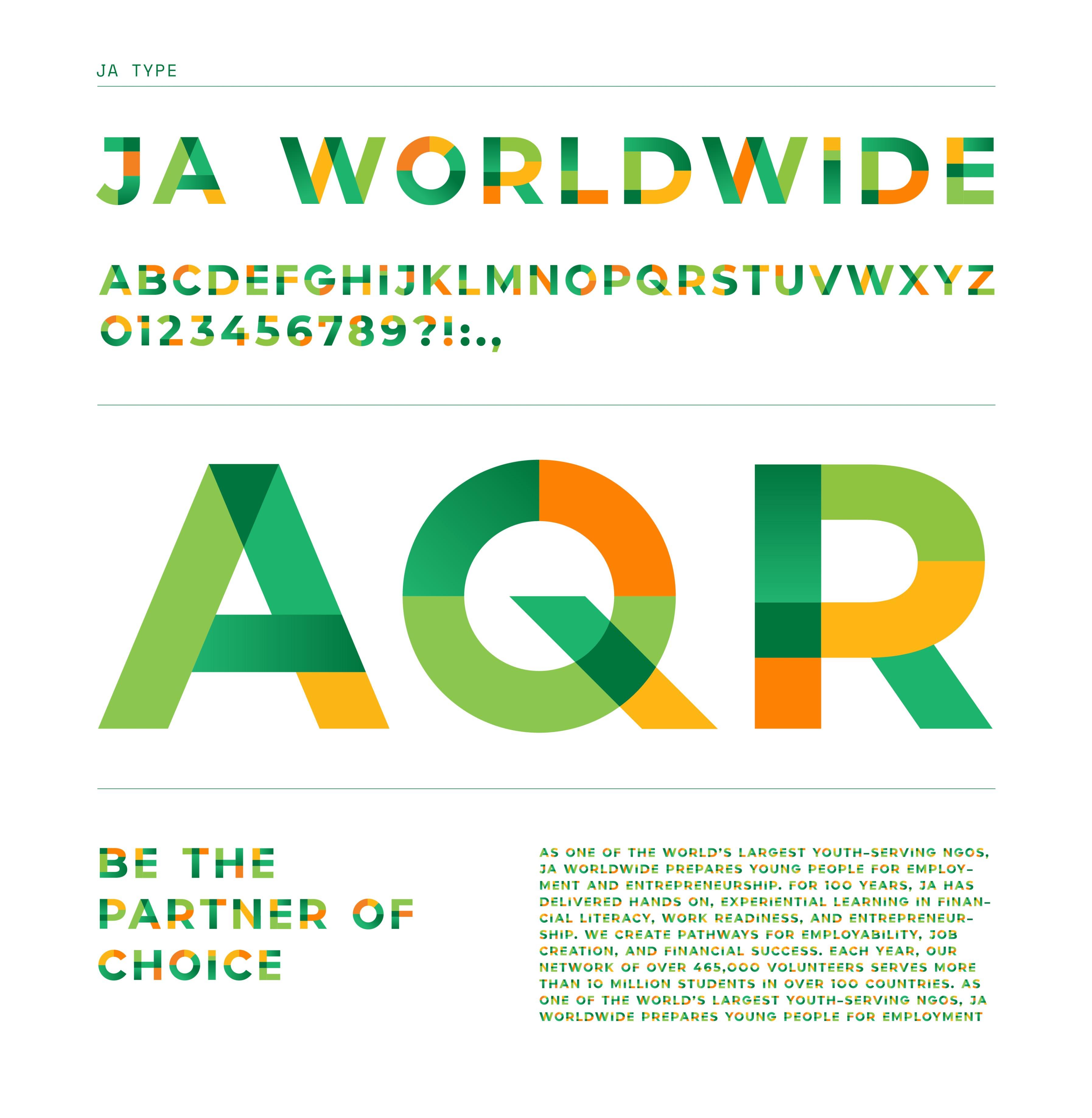 JA Worldwide centennial rebrand typeface design