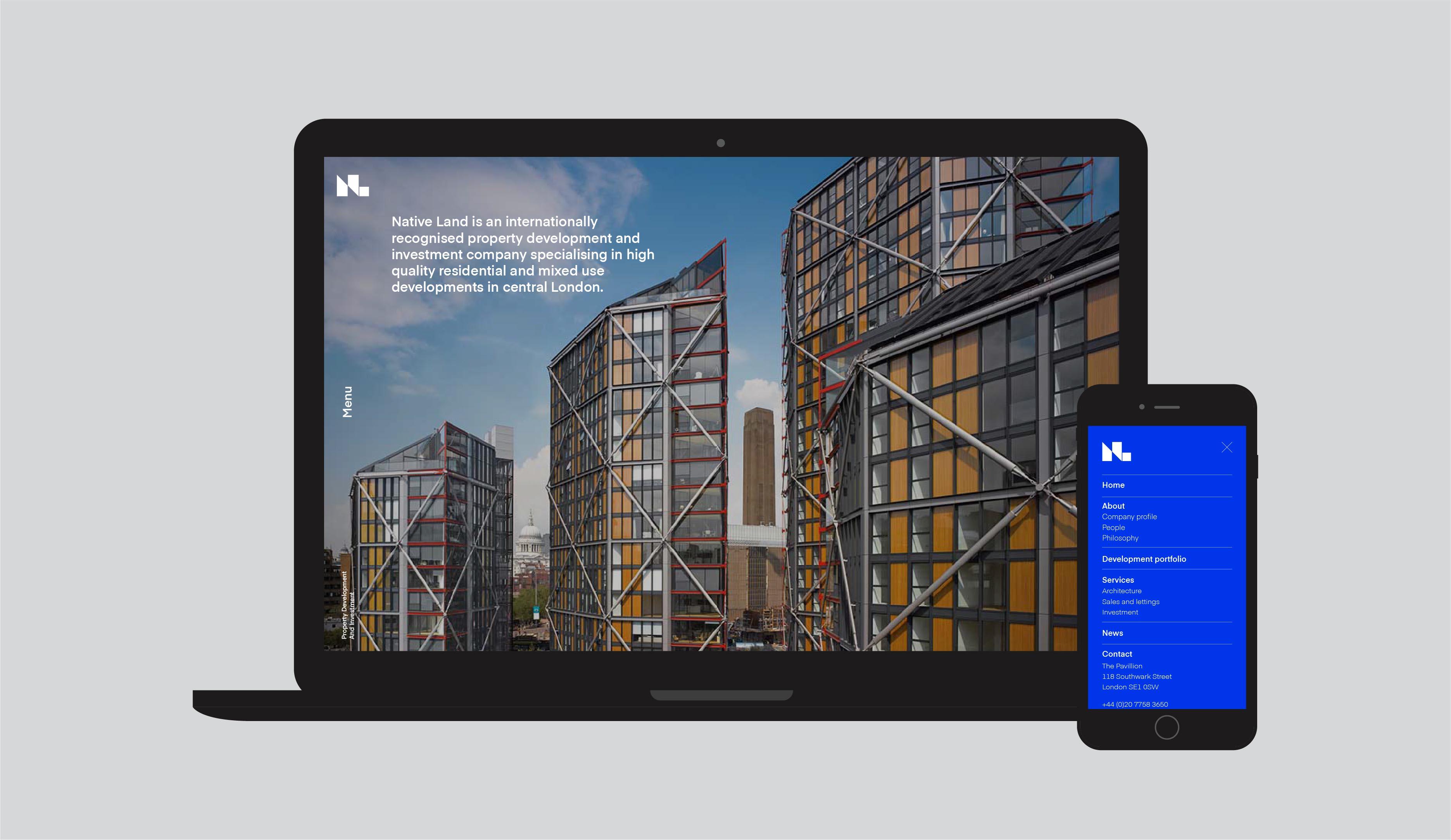 Native Land property development website design
