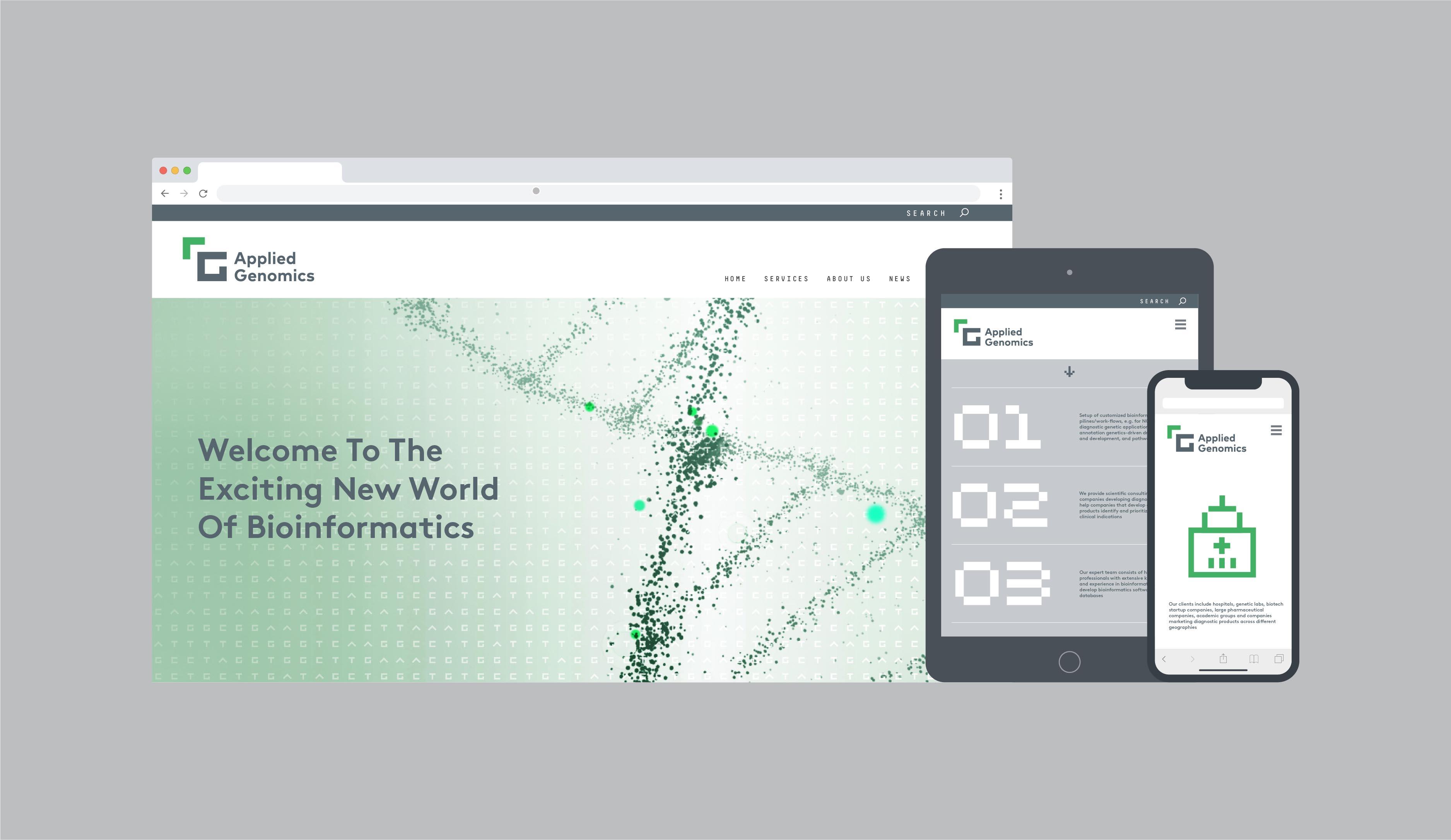 Applied Genomics brand identity and website design