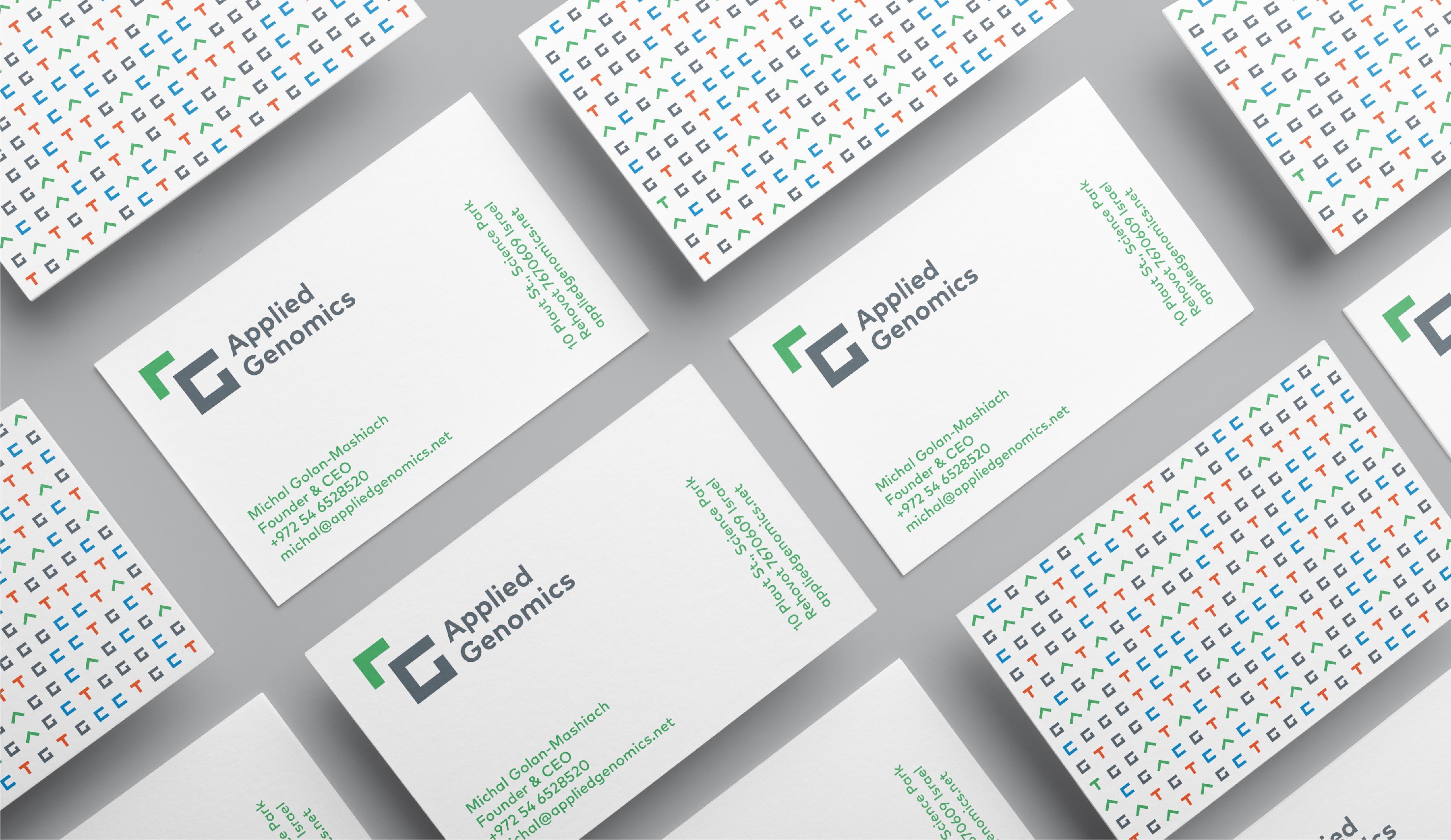 Applied Genomics brand identity business cards
