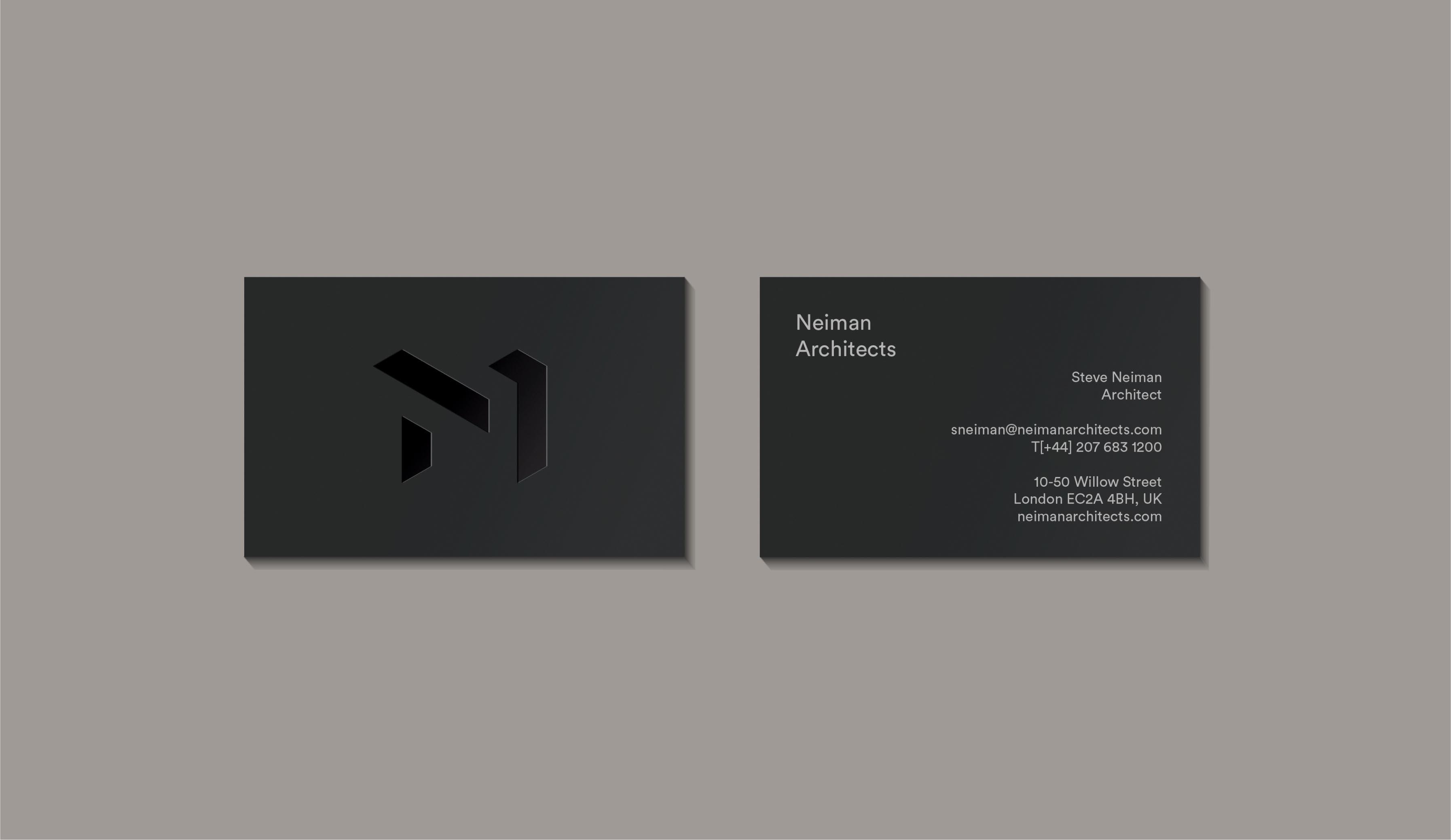 Neiman Architects brand identity geometric logo