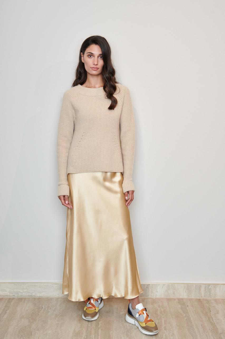 Cashmerepulli Adonia. Dieser großzügige Pullover wurde aus luxuriösem Cashmere gefertigt und hat ein lockere Passform. Material: 100% Cashmere. Farbe: Creme