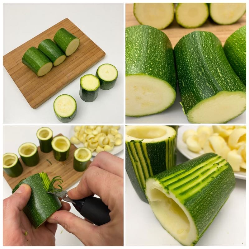 Collage cooking courgettes