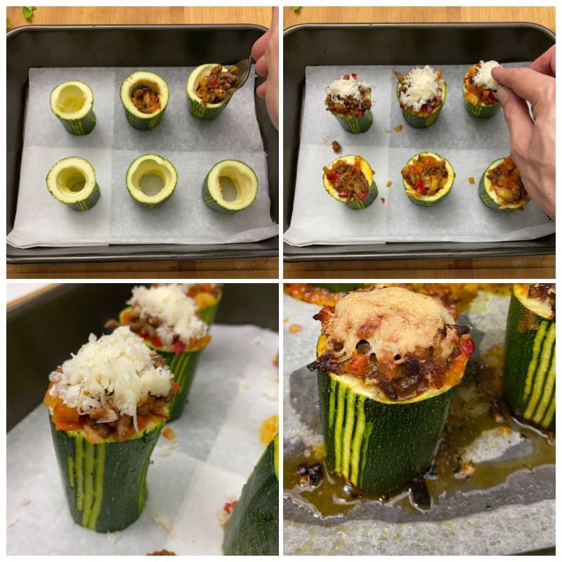 Stuffing the courgettes