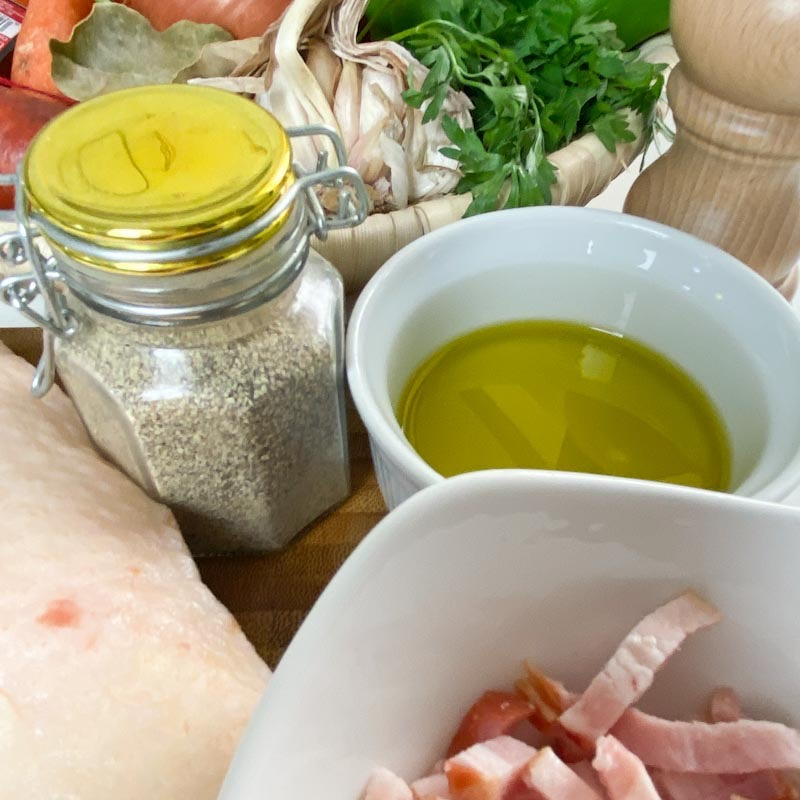 Ingredients for cooking Rice with duck