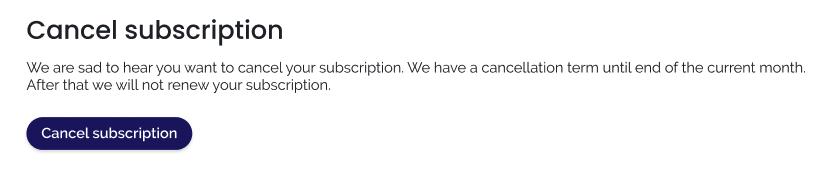 KeyWI's cancel subscription page