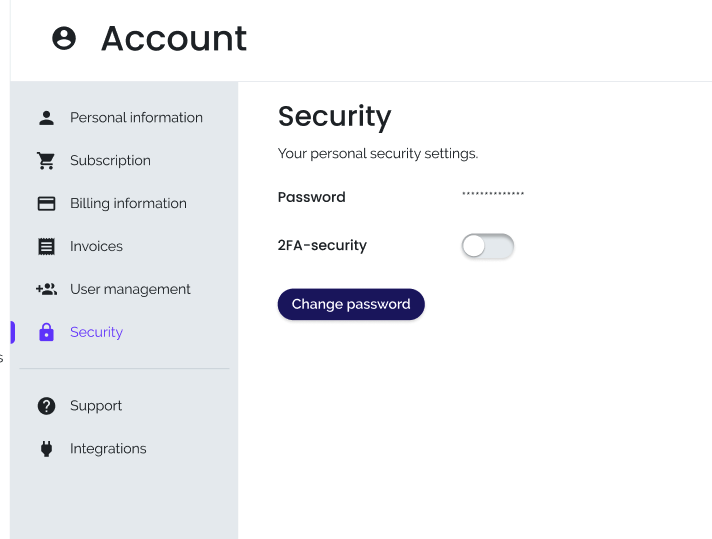 Screenshot of the security page of KeyWI