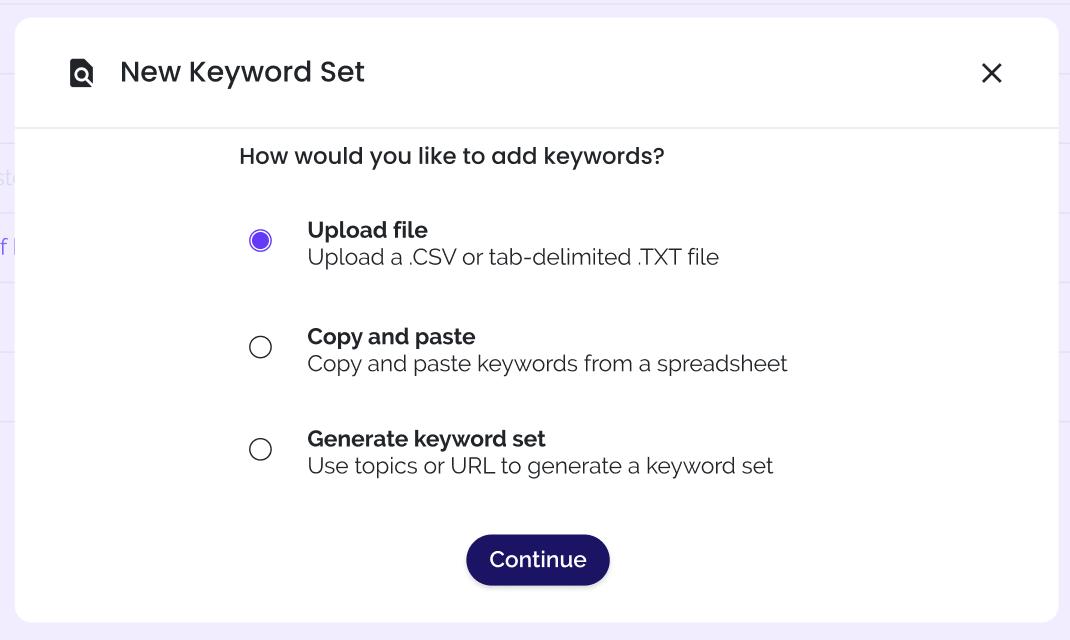 New keyword set options screen in keywi