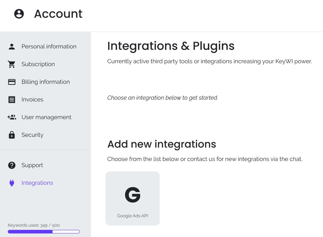 Screenshot of keywi's integrations page