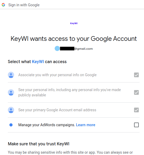 Screenshot of KeyWI asking connection permission to Google account