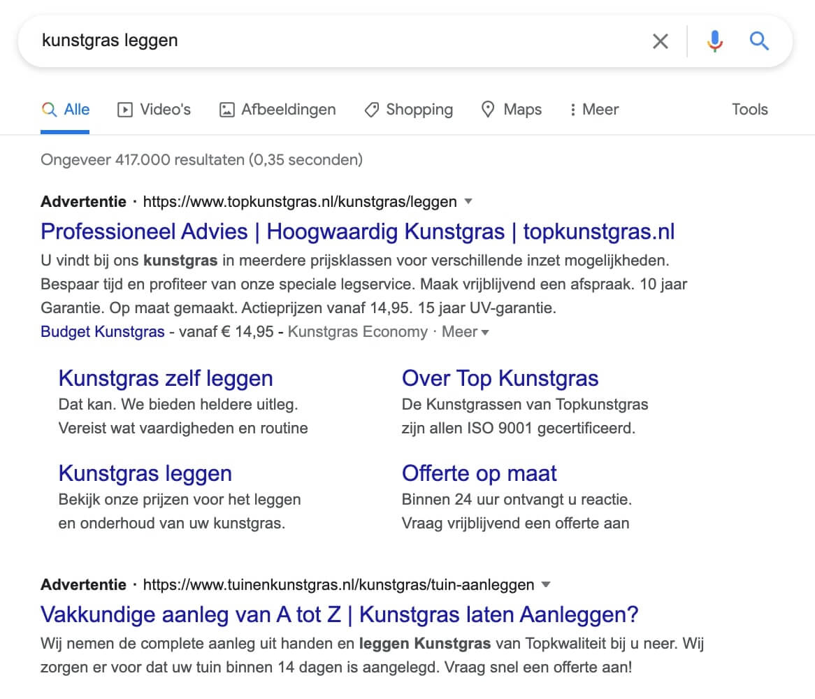 Screenshot Google SERP query 'kunstgras leggen'