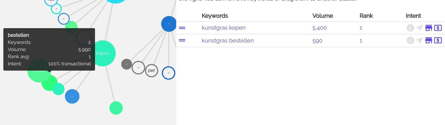 Screenshot KeyWI query 'kunstgras kopen'