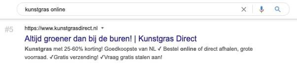 Screenshot SERP ranking domain 'kunstgrasdirect'