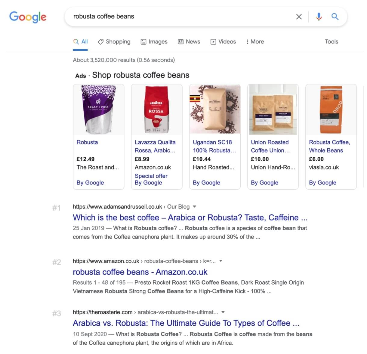 Screenshot: Google SERP for search query 'robusta coffee beans'