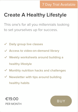 'Create A Healthy Lifestyle' membership plan