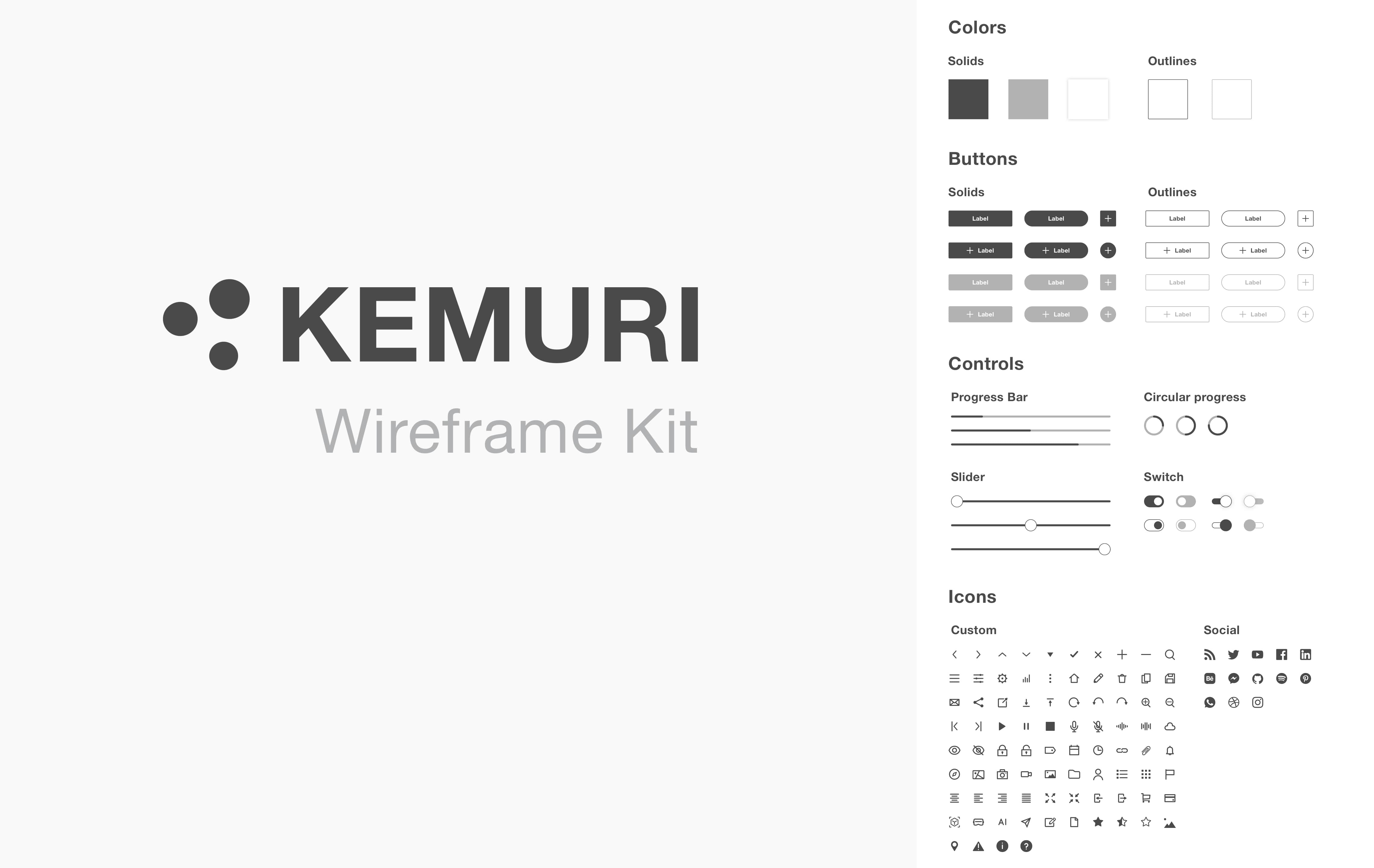 Kemuri wireframe kit cover showcasing some of the components