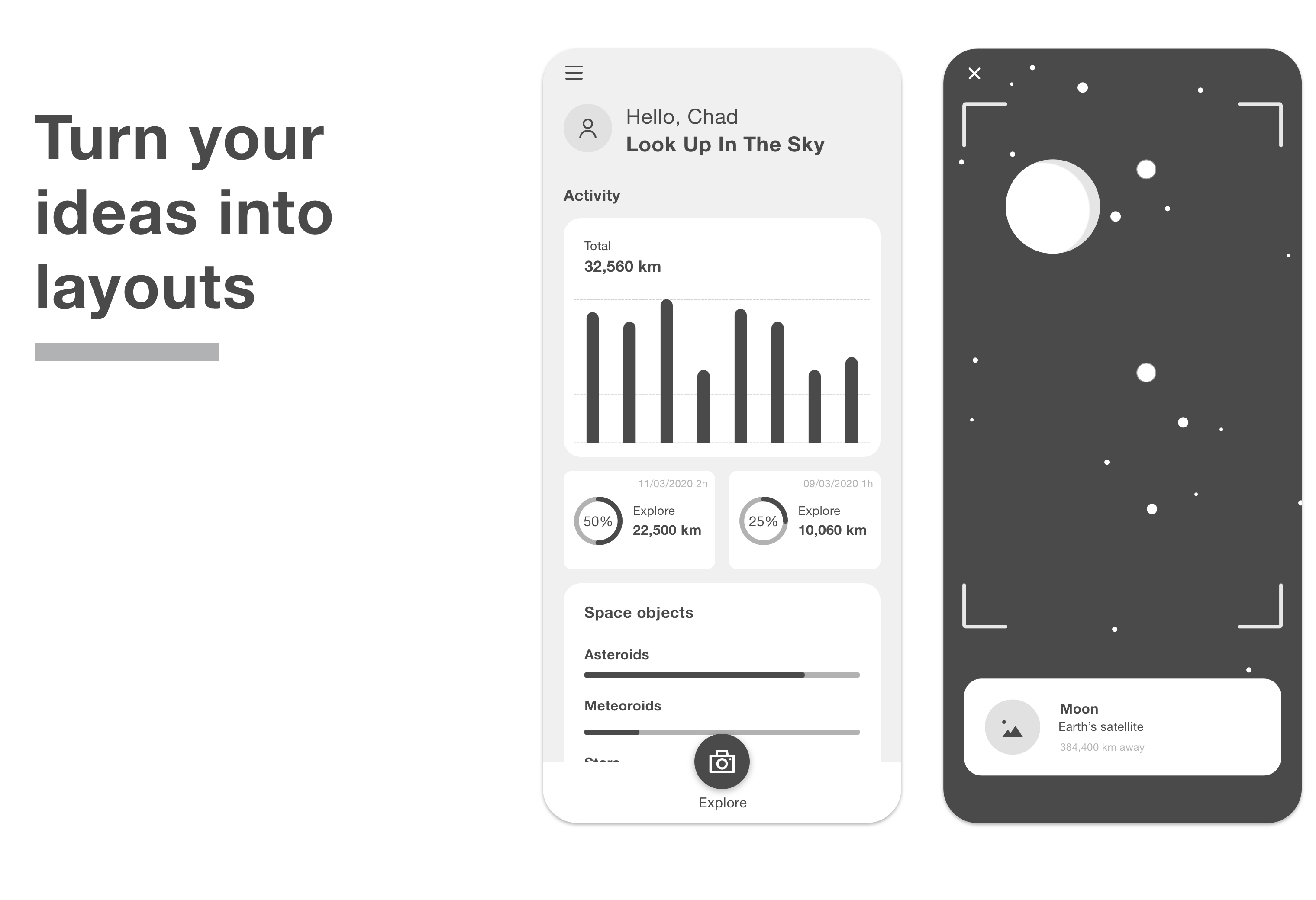 Mobile app created with the kemuri wireframe kit