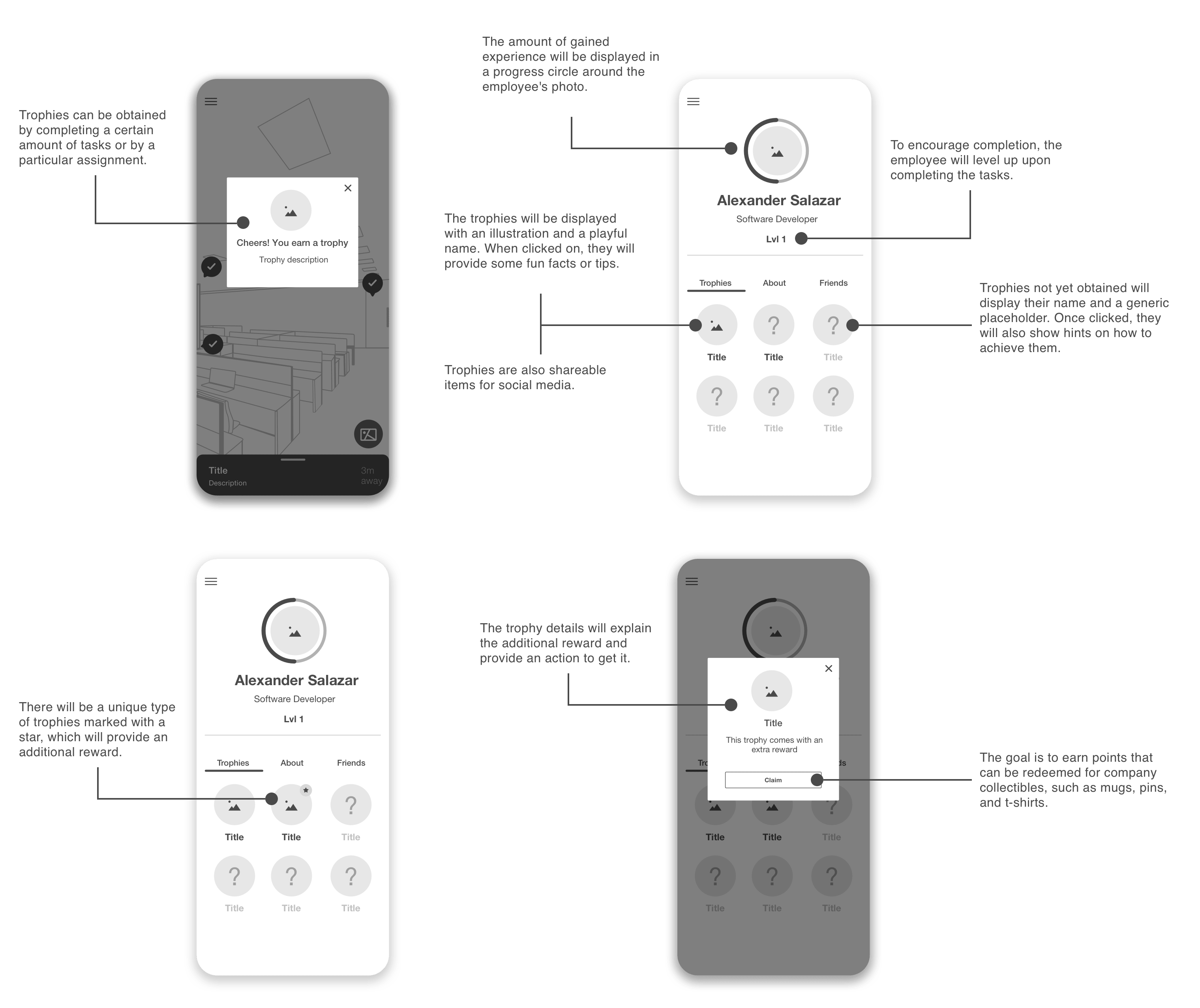 Wireframes for the trophy proposal in the onboarding application