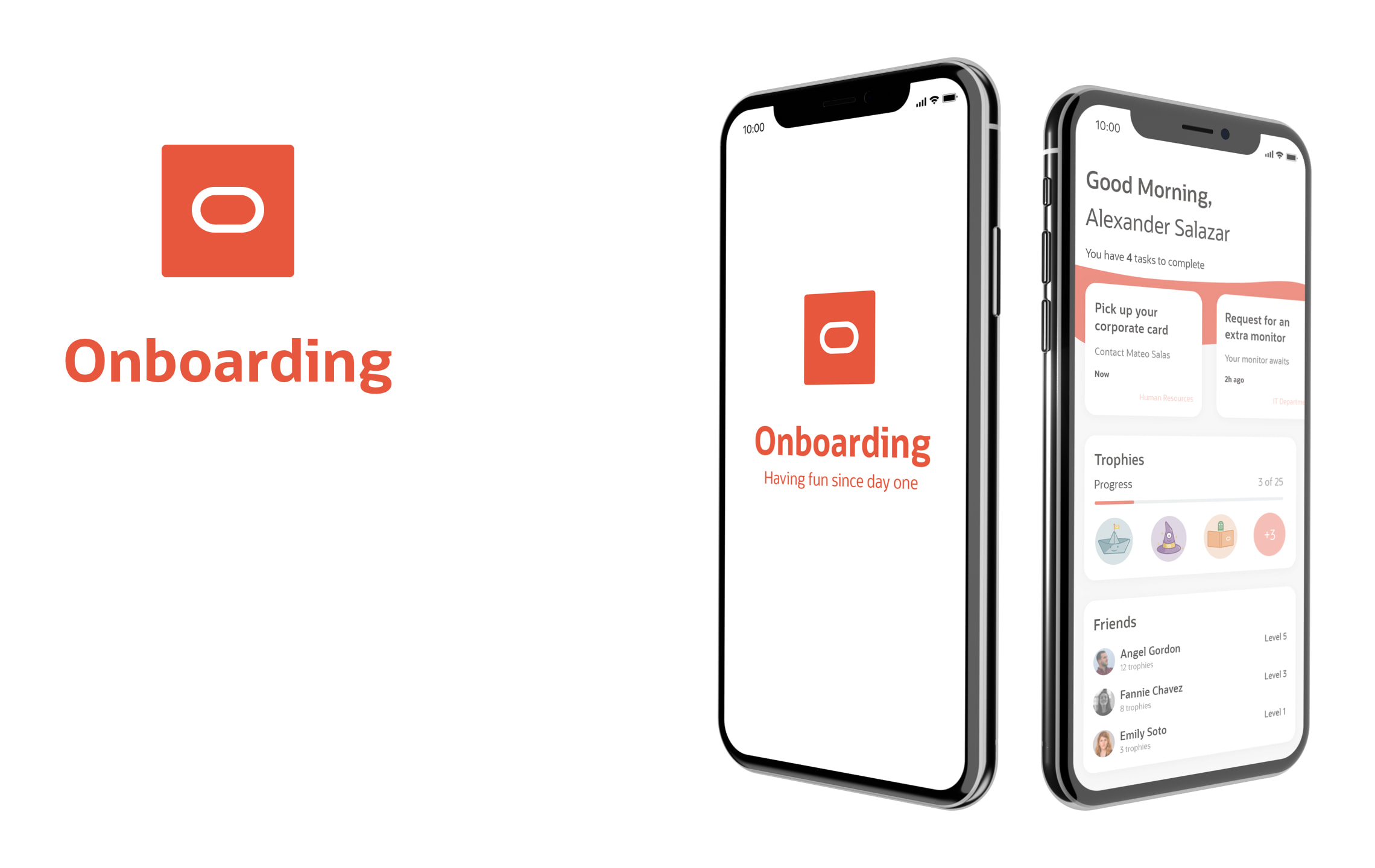 Onboarding logo with Home screen and dashboard screen