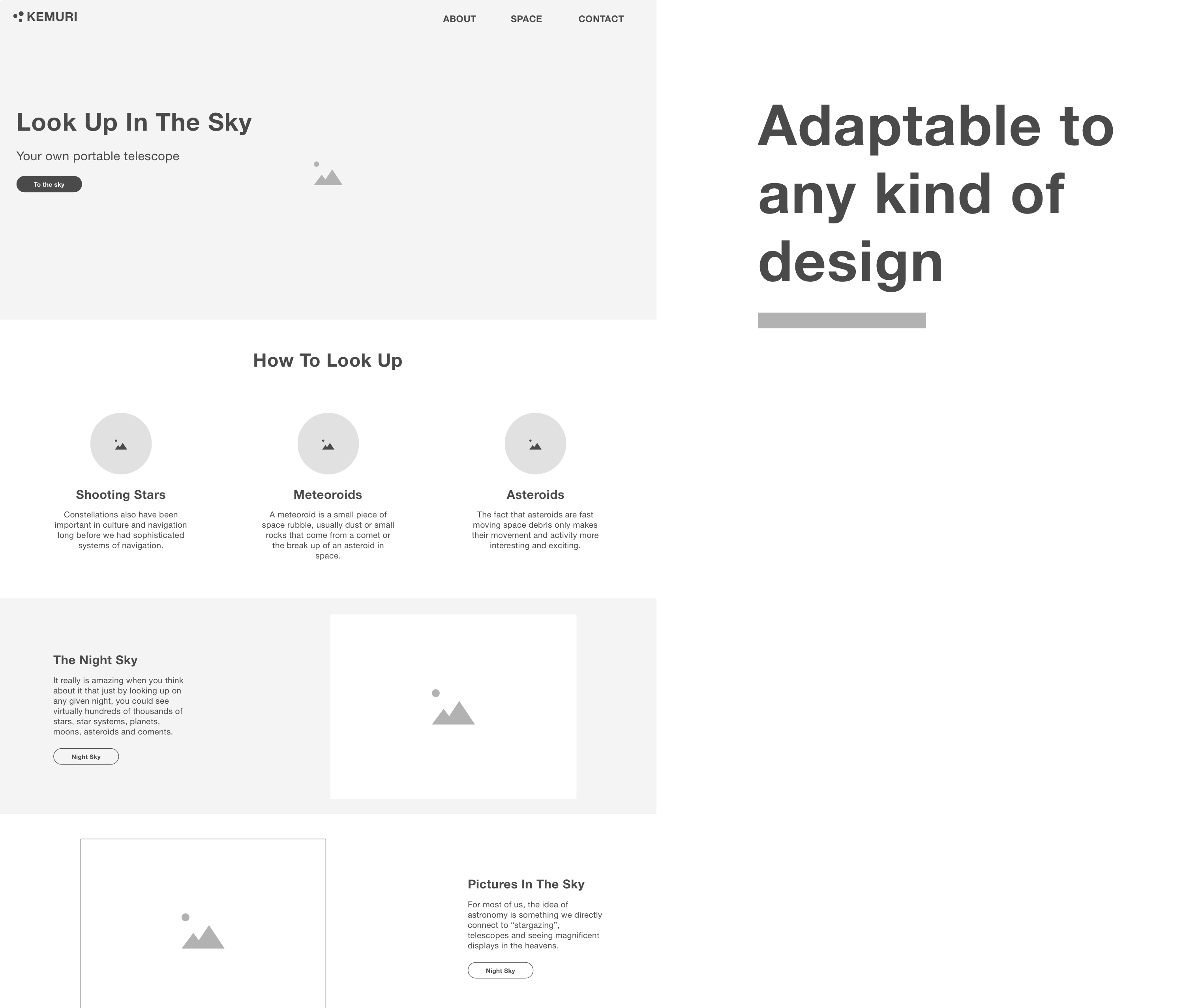 Landing page created with the kemuri wireframe kit