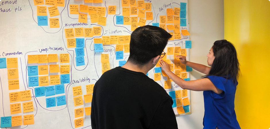 Photo of Leandro and a coworker doing an affinity mapping session with sticky notes on a whiteboard wall