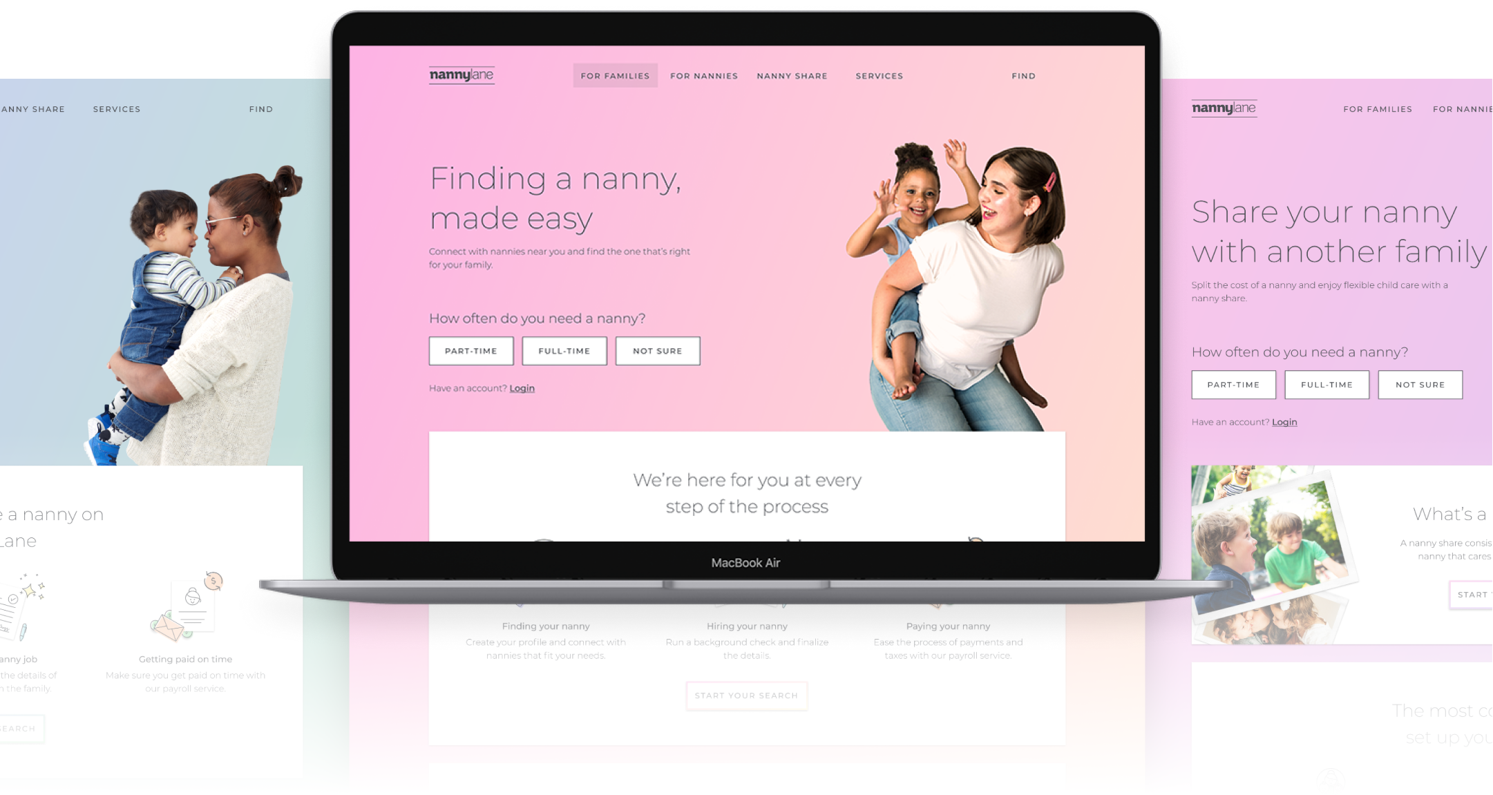 Photos of the landing web pages for the Nanny Lane brand displayed side by side with a laptop