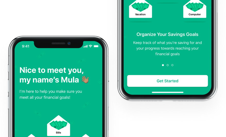 IPhone mockup with designs from a MULA app project