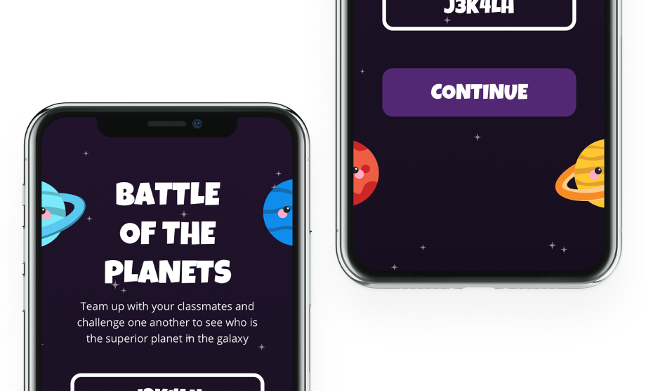 IPhone mockup with designs from a Battle of the Planets app project