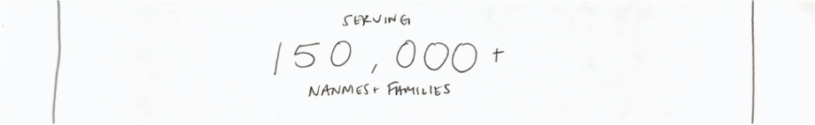 "Sketch of a section on a website with text that reads ""serving 150,000 nannies and families"""