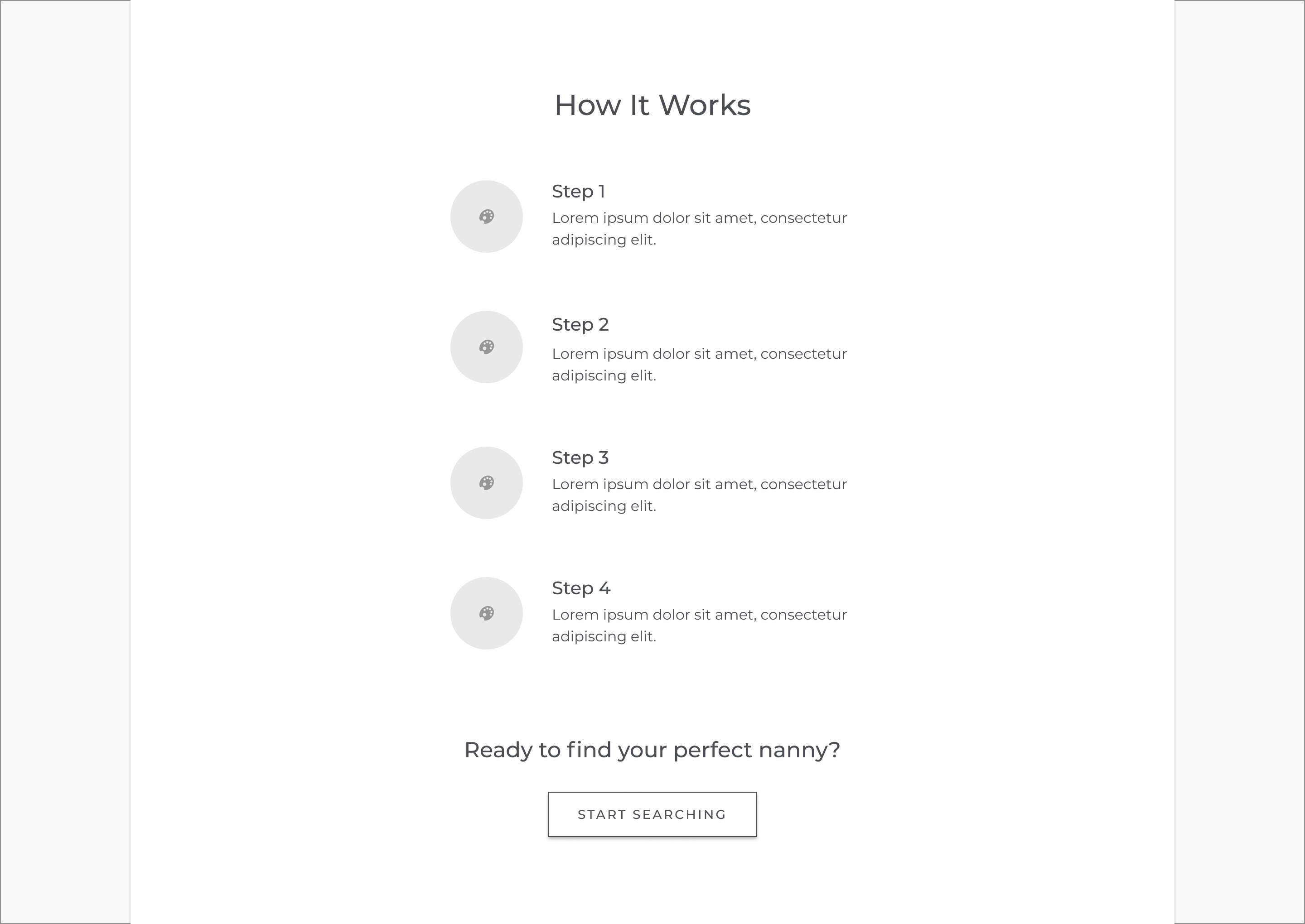 Previous iteration wireframe of the how it works section