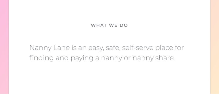 Screenshot of the original Nanny Lane what we do section explaining what the company does
