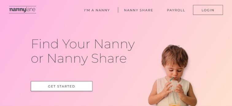 Screenshot of the original Nanny Lane hero section