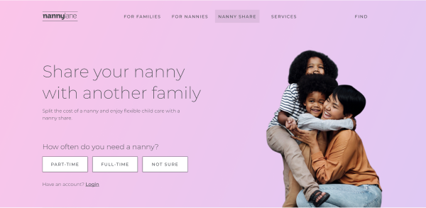 Thumbnail image of the new nanny share landing page