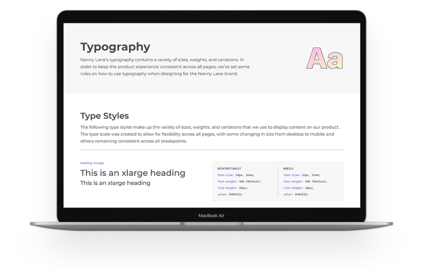 Laptop mockup with typography guidelines