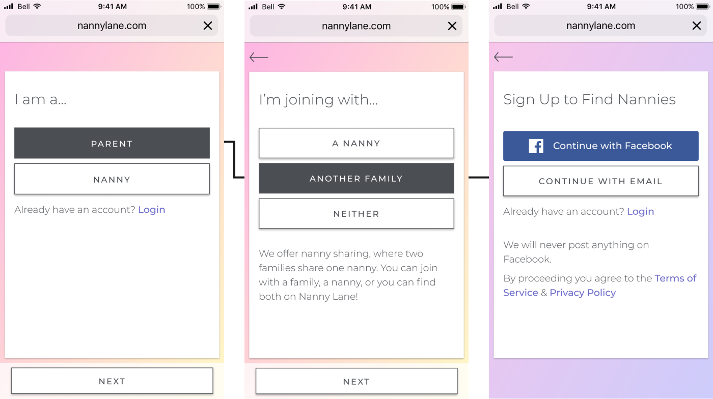 Mockups from Nanny Lane's onboarding outlining the path a Family & Family user type take to sign up